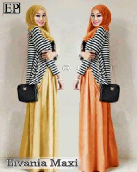 Livania Maxi Maxi Dress Cardigan Hijaber Terbaru Butik