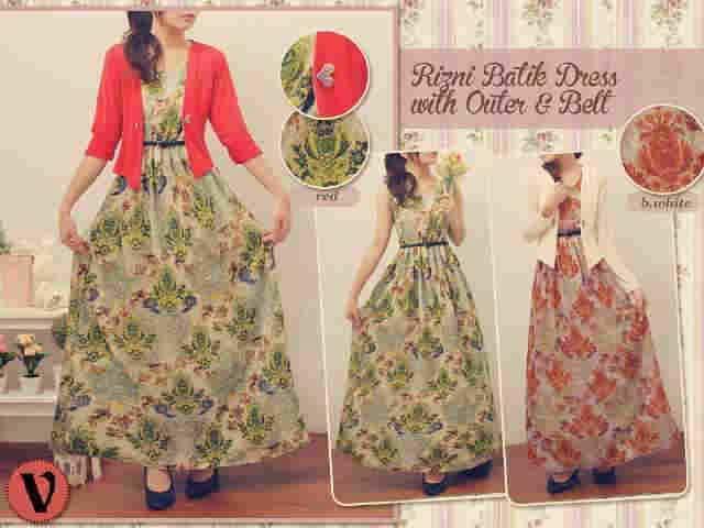 Rizni batik dress, Maxi Cantik Sifon Murah Kombinasi Blazer Adem ...