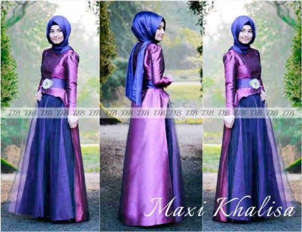 Maxi Khalisa Ungu Baju Gamis Pesta Muslim Terbaru Butik