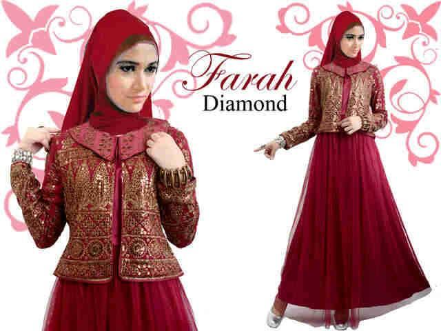 Farah Diamond Maxi Pesta Muslim Yang Mewah Dengan Lapisan Tile Dan