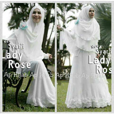 Syari Lady Rose Gamis Syari Putih Yang Anggun Dan Elegan Butik