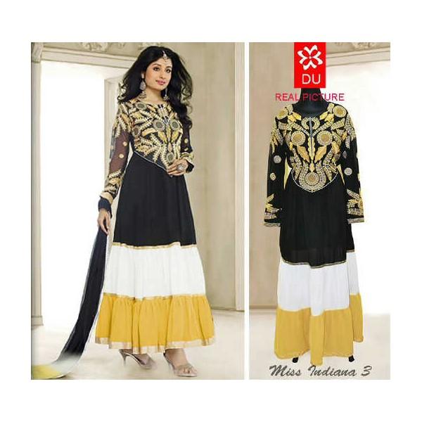 Gamis India 92494 Hitam Kombinasi Kuning Dan Putih Butik Destira