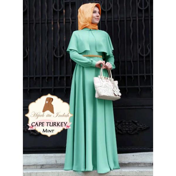 Cape Turkey Mint Gamis Dress Model Terbaru Butik Destira Jogja