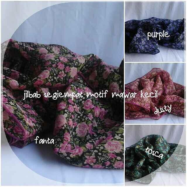 Jilbab segiempat motif mawar kecil