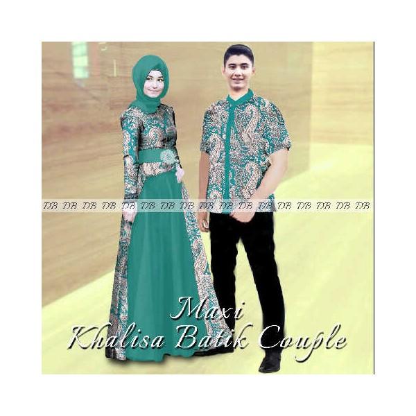Maxi khalisa batik couple gamis sarimbit modern 2015 Baju gamis batik hijau tosca