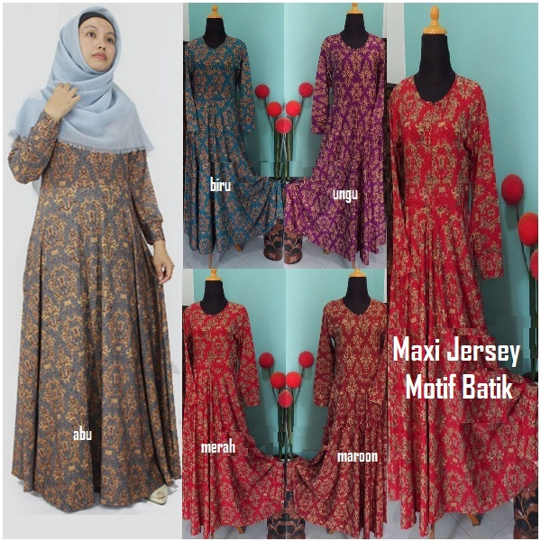Maxi Jersey Motif Batik Model Payung Yang Cantik Dan Elegan Butik
