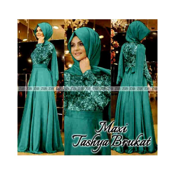 Maxi Tashya Brukat Model Baju Pesta Muslim Terbaru