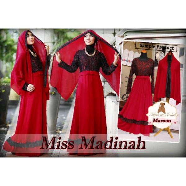 Miss-Madinah-Gamis-Brukat-Nuansa-Merah
