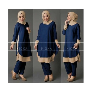 kioka jogger blouse blue
