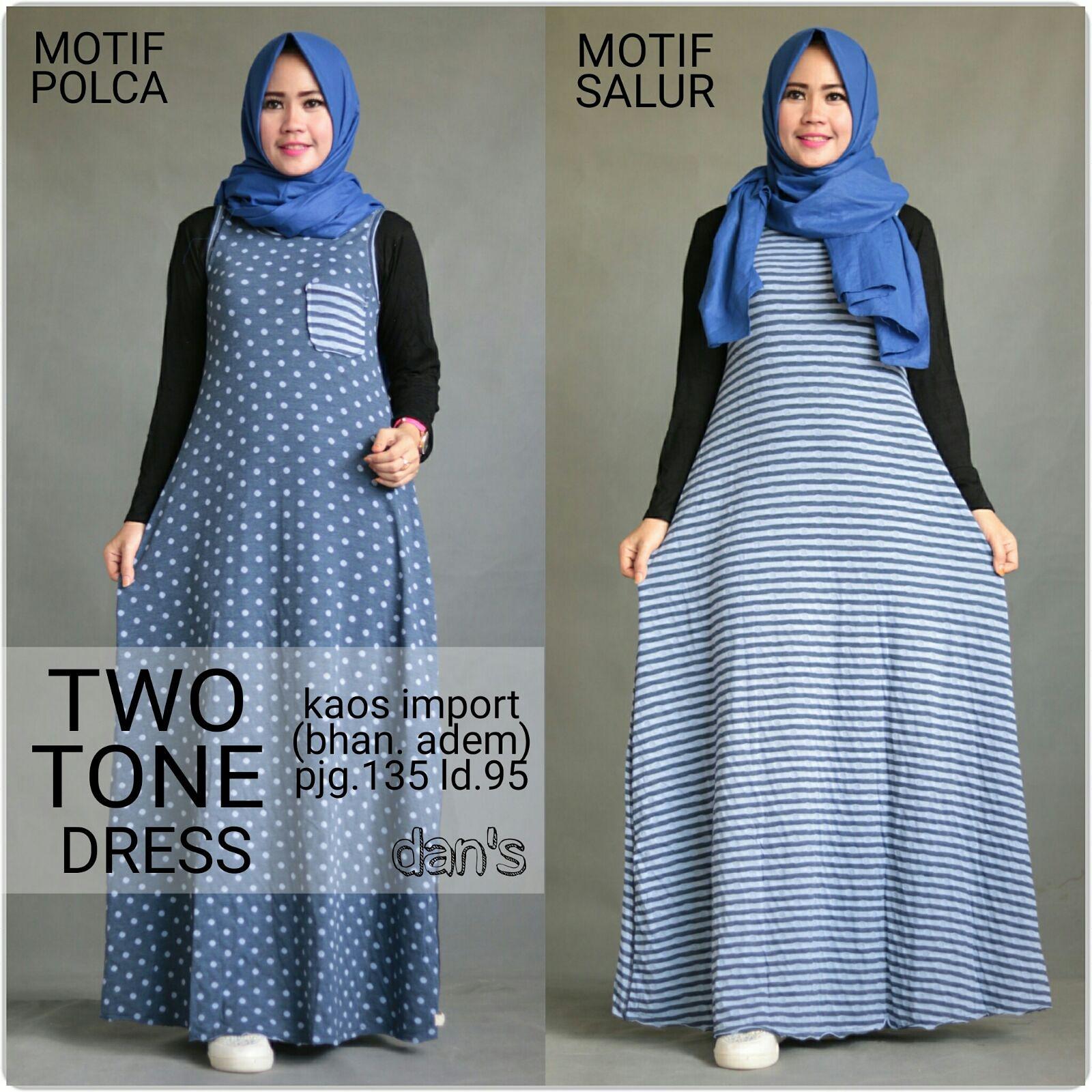 Two Tone Dress Ori Dans Butik Destira Jogja Kellen Image