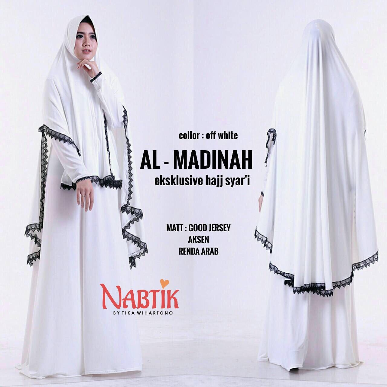Almadinah Syari Ori Nabtik Gamis Putih Haji Modern Butik Destira