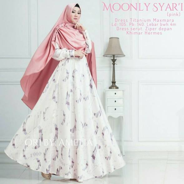 Moonly Syari Dress Titanium Maxmara Ori by Amelia