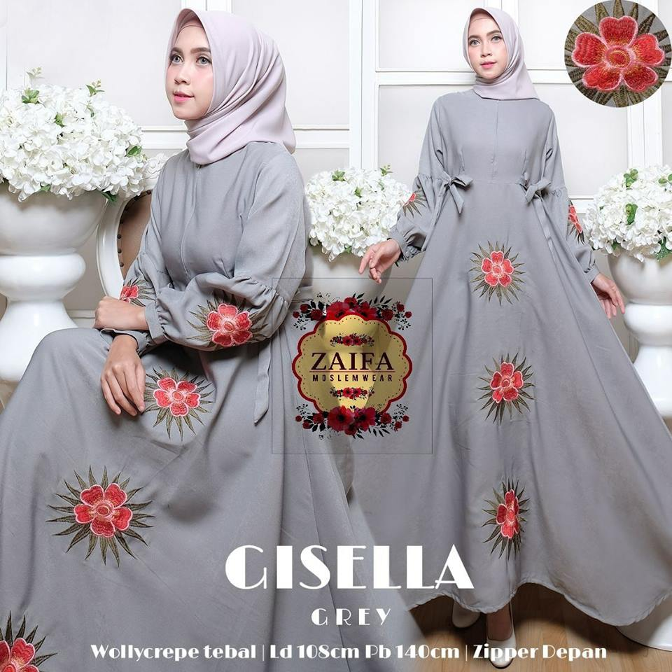 Gisella Dress Wollycrepe Mix Bordir by Zaifa Moslemwear
