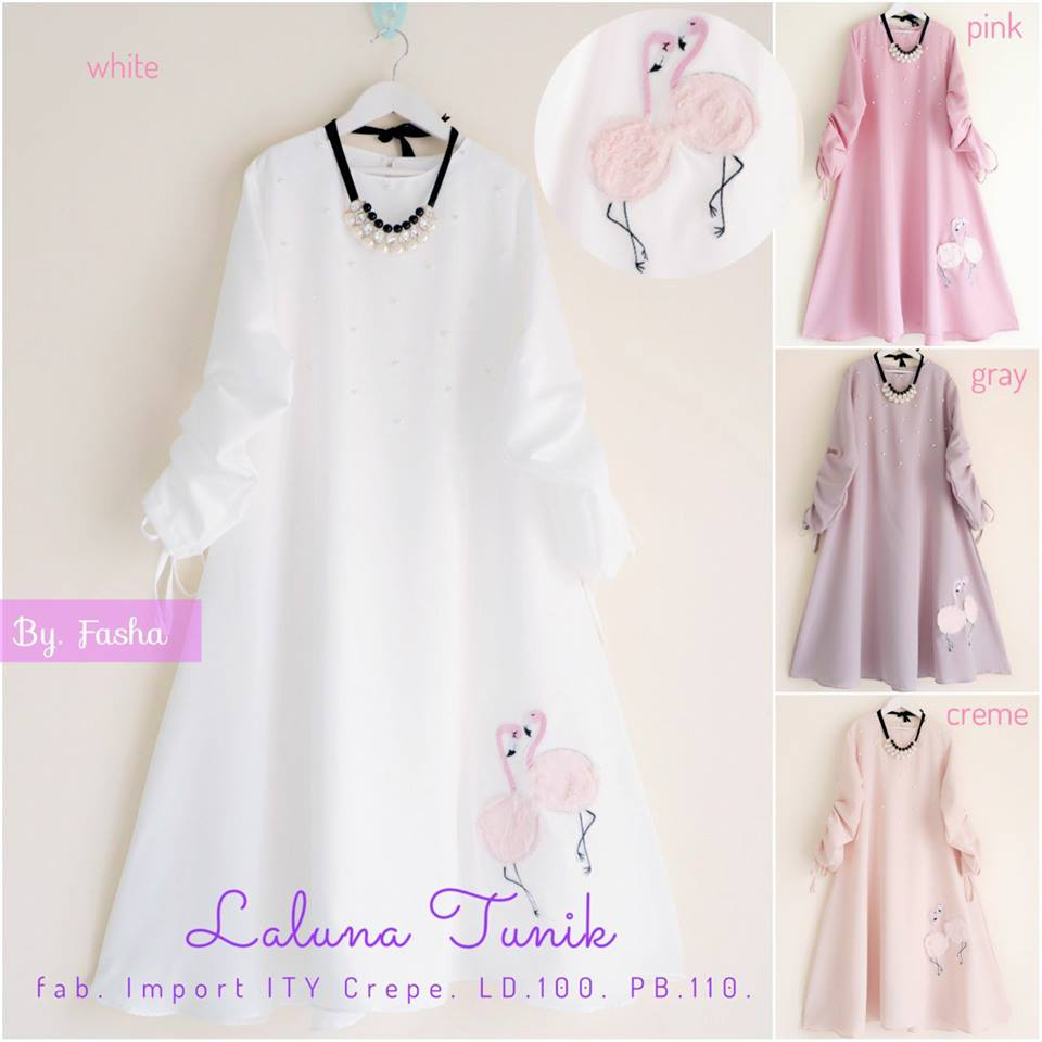 Flowery Dress Laluna Tunik Taniki Tunik by Fasha Hijab